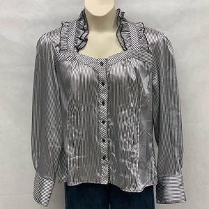 Jennifer Lauren black and white striped blouse